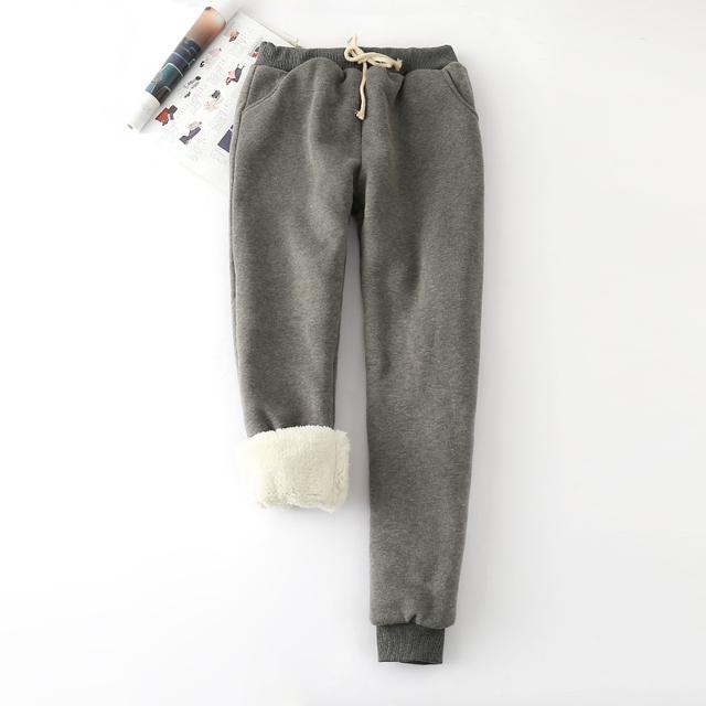 Zima LAMBSKIN grubszy elastyczny pas spodnie luźne duży rozmiar jednolity kolor bawełny harem Spodnie damskie casual ciepłe spodnie MZ1955