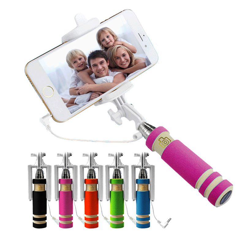 Wholesale mini Wired Selfie Stick Handheld Monopod Built-in Shutter Extendable + Mount Holder For iPhone Samsung Phones Camera