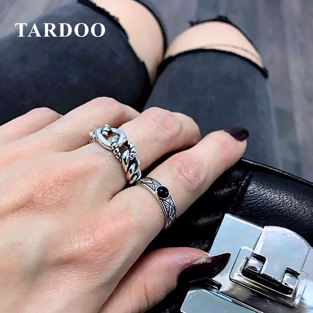 Tardoo Trendy Exquisite Adjustable Cuff Rings for Women Genuine 925 Sterling Silver Knuckle Ring Fine Jewelry trendy faux crystal embellished cuff ring for women