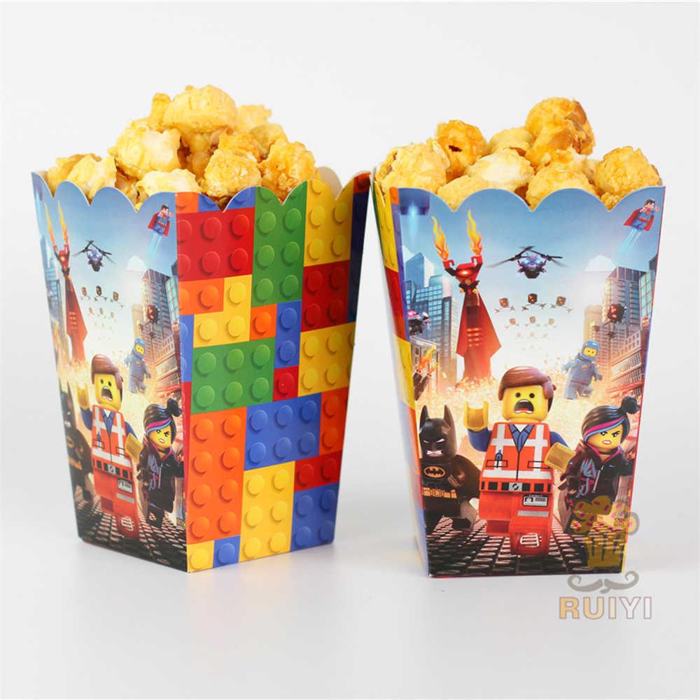 6 pçs/lote LEGO The Avengers Crianças Fonte Do Partido caixa de Presente caixa de Caixa de Pipoca Favor Acessório Fontes do Partido de Aniversário AW-0564