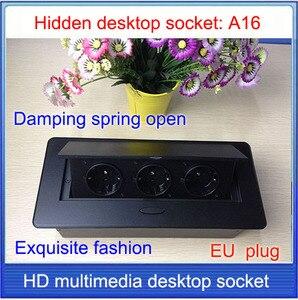 Image 2 - EU plug Tabletop socket /hidden/ Damping spring open Information outlet  /Office conference room High grade desktop socket  /A16