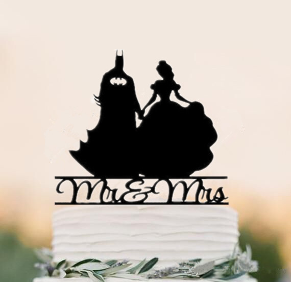 Mr & Mrs with Batman & Wonder Women Wedding Cake Topper, Wedding Anniversary Cake Topper Acrylic Black