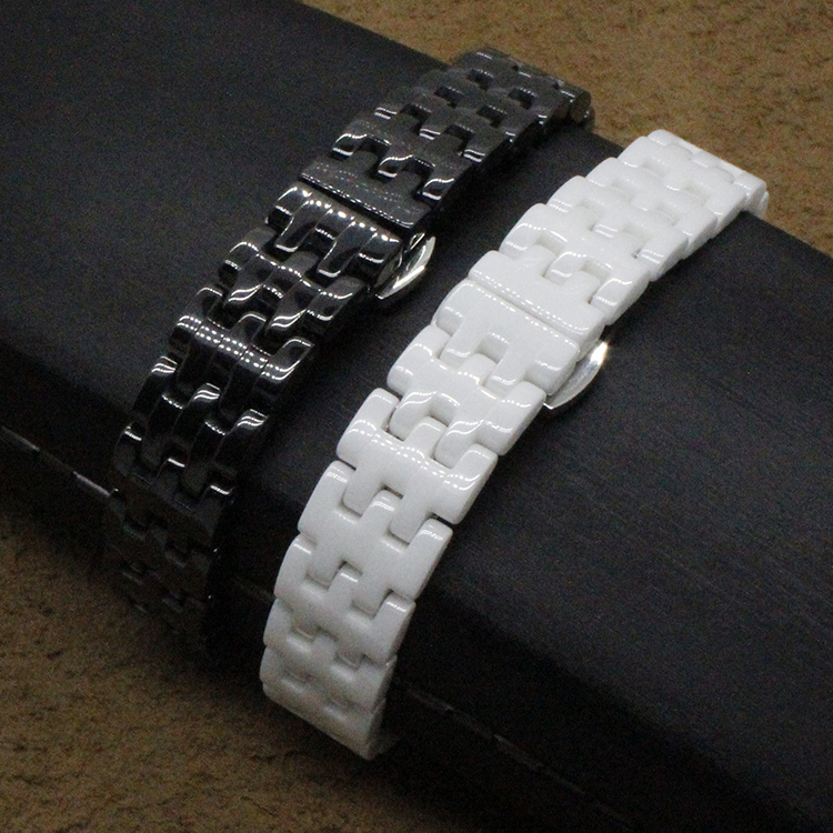 ladys watch Diamond Watchband Ceramic white Black watchbands 14mm band Straight End  Links watch accessories