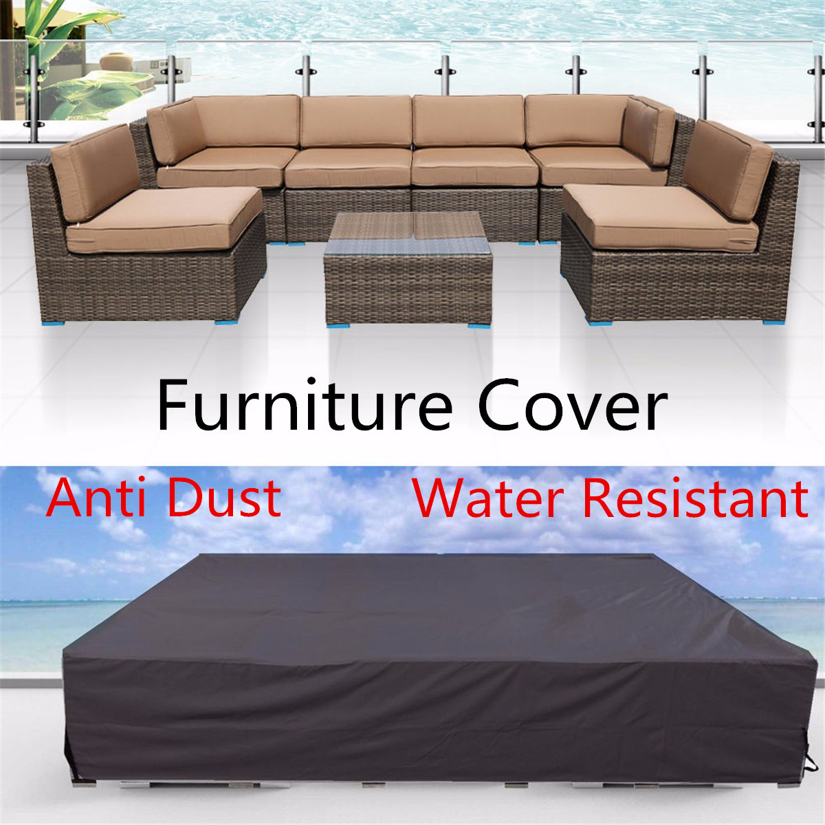 US $12.45 18% OFF|Heavy Outdoor Furniture Cover Waterproof Patio Garden  Wicker Chairs Tables Sofa Couch Cover Rain Snow Dustproof Covers-in ...
