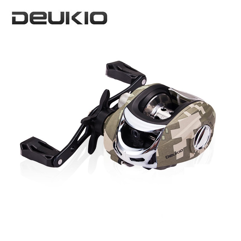 DEUKIO Camo Brake System Fishing Reel 7.3:1 High Speed Metal Water Drop Wheel Pesca Baitcasting Fishing Reel Left or Right Hand цена