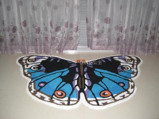 85*50CM Hot Chic Hallway Mat Blue Butterfly Small Carpet Modren Bath Mats  Aisle Rugs