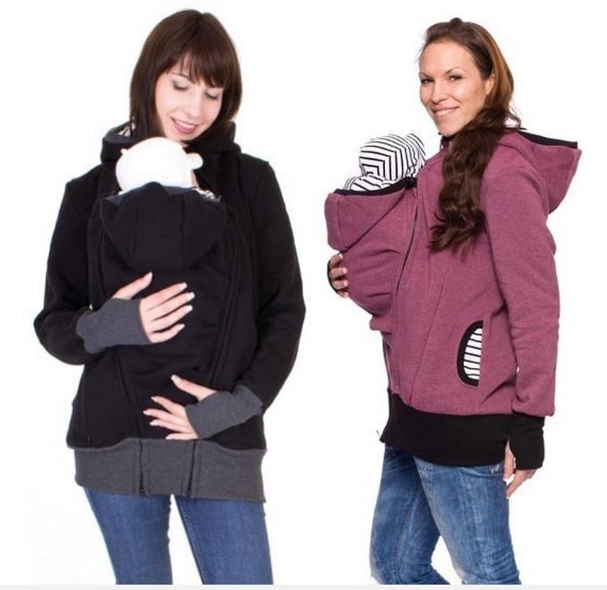 2018 Kangourou Chaud porte-bébé À Capuche Zipper Veste Épaissie Survêtement  Manteaux De Maternité Pour Les Femmes Enceintes vêtements De Maternité 595c6a26d39