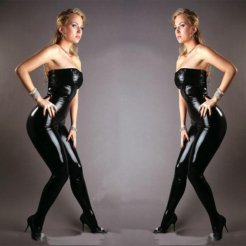 New Sexy Black Faux Leather Latex Catsuit Strapless Bondage Bodysuit Wetlook Clubwear Jumpsuits Open Croth Sequin Zip Rompers