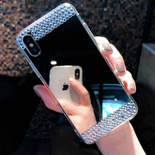 Fashion Bling Diamond Jewelry Mirror Case For iPhone 5 5S SE 6 6S 7 8 Plus Glitter Transparent X XS MAX XR Cover