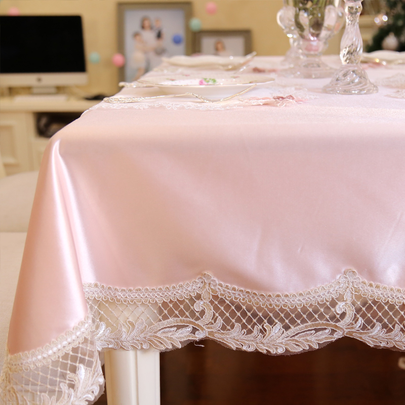 New Beauty Lace Place Tablecloths Table Cloth Mat Cover Europe Pink  Princess Dinner Table Mat Wedding