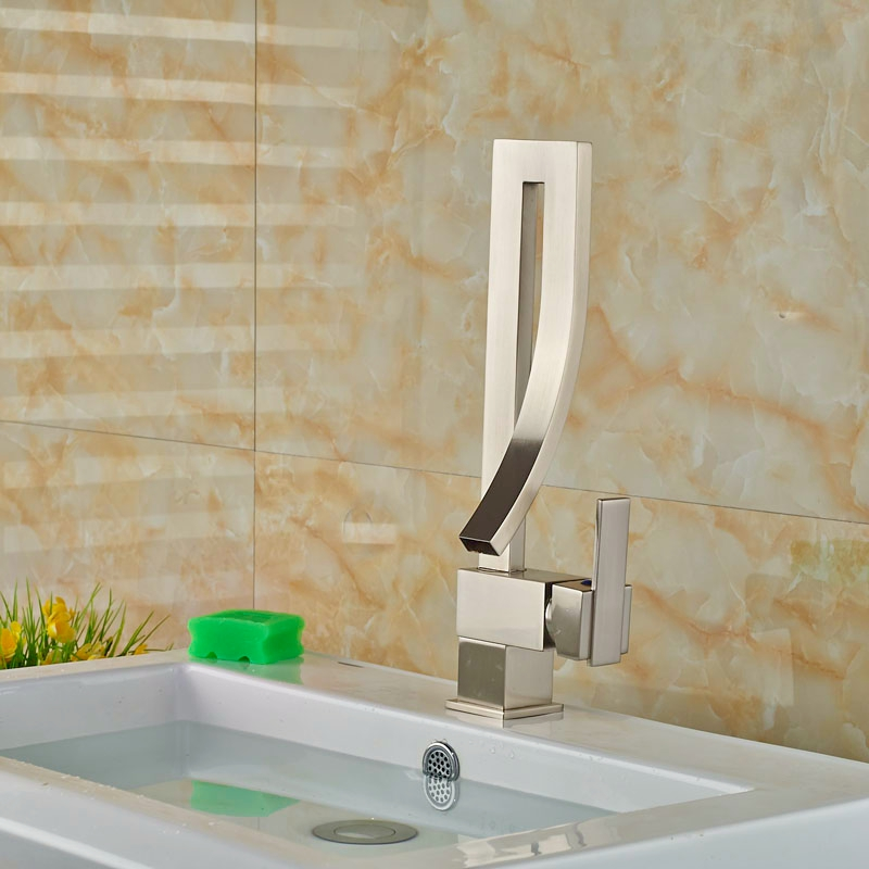 Wholesale And Retail Brushed Nickle Basin Faucet Bathroom Vanity Sink Tap MIxer Tap One Hole Single Handle vanity sink basin faucet 9 6 hole plate bathroom tap brushed nickle mixer faucet