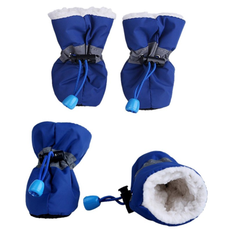 4Pcs/lot Waterproof Dog Shoes with Cashmere Winter Warm Inner,Anti-slip Shoes for Small Dog Rain Snow