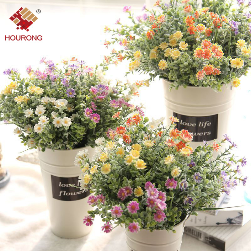 1PC Artificial Flowers <font><b>Daisy</b></font> Flower with Green <font><b>Plants</b></font> Grass European Floral Plastic Flowers for Home Wedding Table Decoration image