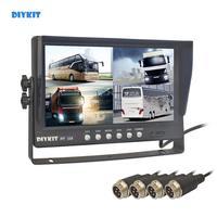 DIYKIT 9 4CH 4PIN 4 Split Quad Screen Display Backup Rear View Car Monitor for Car Truck Bus Reversing Camera 12V 24V DC