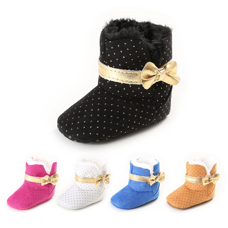 Warm Winter Princess Baby Girls Snow Boots Infant Winter First Walkers Gold Bow Mary Jane Winter Baby Shoes Zapatos Dots
