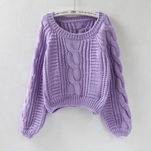 Autumn Winter Women Casual O-Neck Twist Soft Sweaters And Pullovers Lantern Sleeve Short Sweater Loose Pull Femme(China)