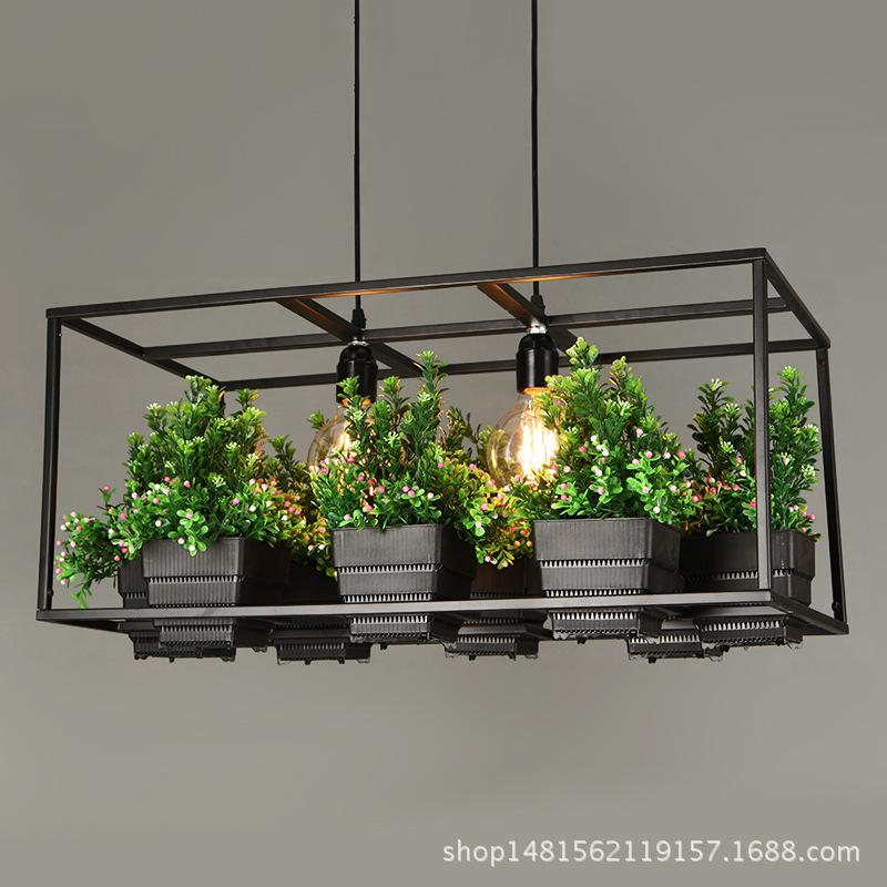 Modern Simple wood&Iron Chandelier lighting <font><b>3</b></font> kinds wrought iron plant pot bar restaurant balcony creative suspension lamp <font><b>light</b></font> image