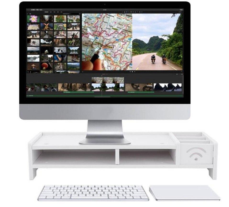 Support d'ordinateur portable blanc support de bureau pour ordinateur portable TV multi-fonction moniteur de bureau support ordinateur écran Riser étagère en bois plinthe C138