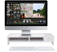 white Laptop Stand Desk Holder For Notebook TV Multi function Desktop Monitor Stand Computer Screen Riser Wood Shelf Plinth C138