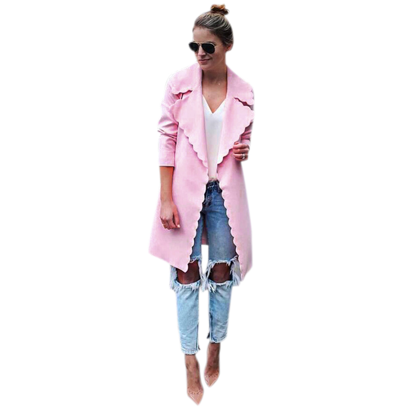 Women Fashion Sweet Wavy Edge Design Lapel Long Cardigan