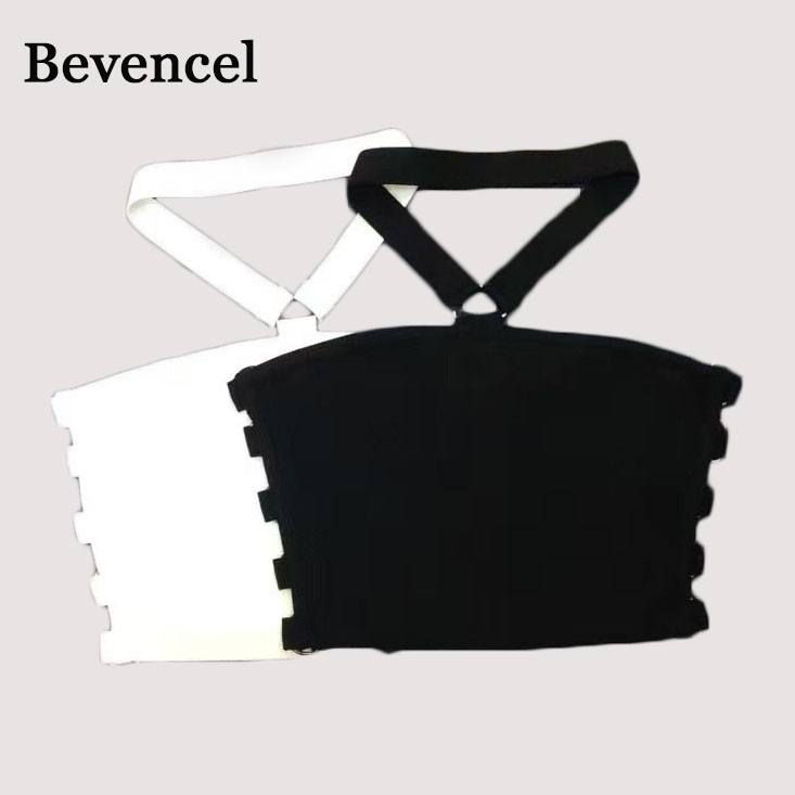 2018 new sleeveless halter backless hollow out sexy celebrity party crop top bandage tops