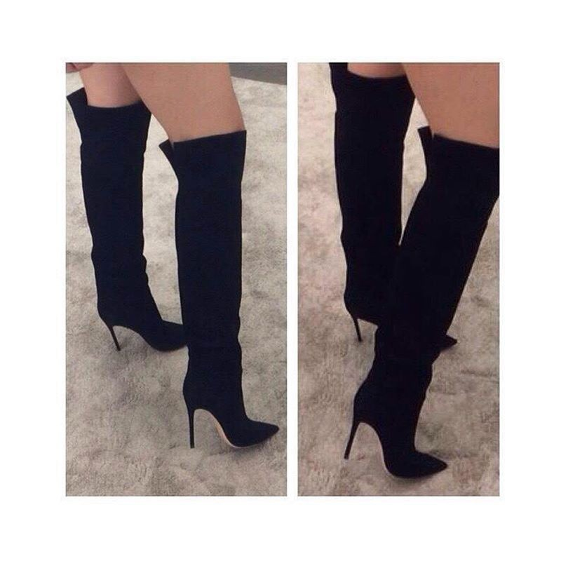Autumn Winter Long Boots Black Suede Over the Knee Boots Sexy Pointed toe High Heel Boots for Woman zapatos mujer