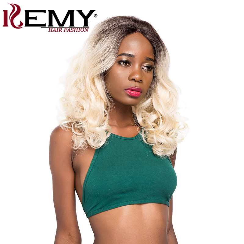 KEMY HAIR Synthetic Lace Front Wigs Ombre Blonde Brown Free Part Glueless Short Wavy Wigs For Black Women Heat Resistant Fiber