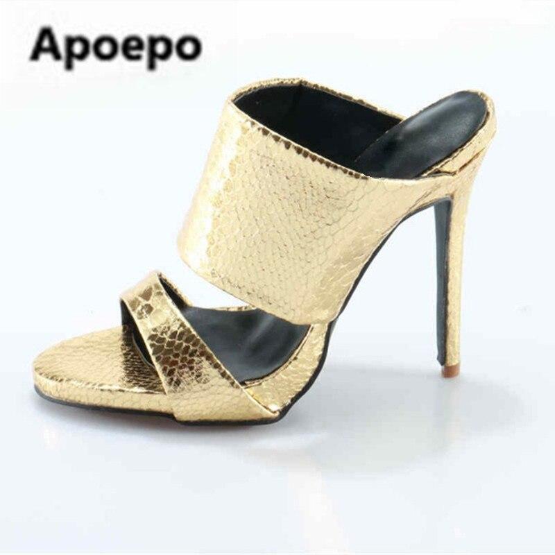 цена на Sales Gold/Silver Python Leather Mules Slip On High Heels Women Sandals Slide Open Toe Flip-Flops Summer Slipper pantuflas 2018