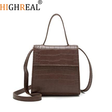 HIGHREAL Box Bag Animal Print Alligator Leather Bag Handbag Women Vintage Bags 2019 Luxury Brand Wholesale Drop Shipping