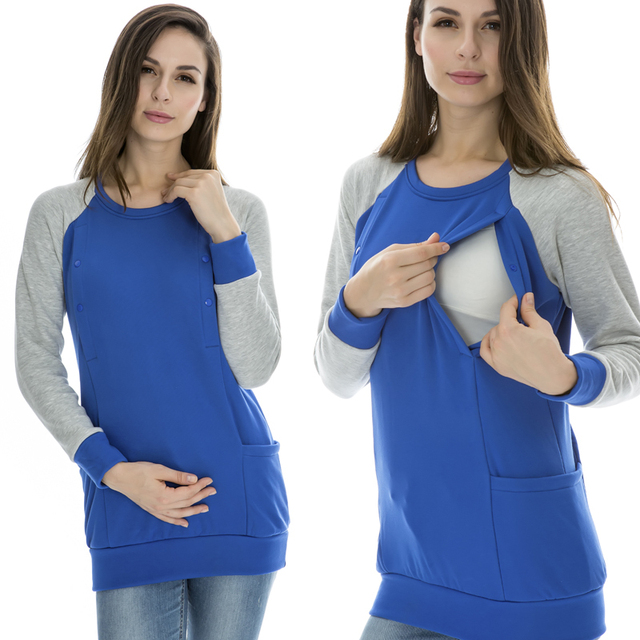 Maternity Nursing top Autumn and Winter Breastfeeding Clothes Fashion Nursing loading Thick thermal fleece long-sleeve