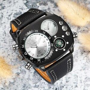 Image 4 - Oulm Rahat gerçek deri kayışlı saatler Erkekler Lüks Iki Zaman Dilimi Kuvars Saat Büyük Arama Erkek Spor Kol Saati