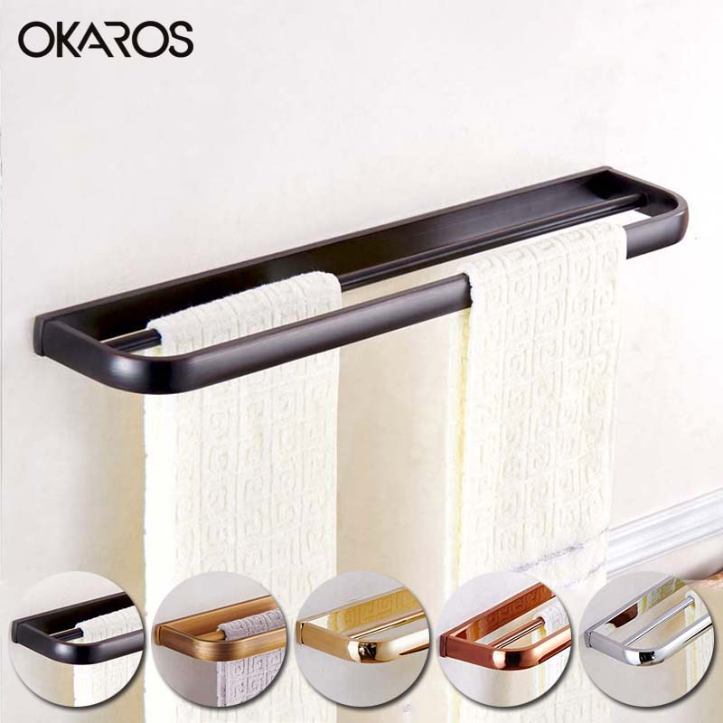 OKAROS Double Tier Towel Bar Towel Rack Towel Hanger Holder Brass Towel Hanger Chrome/GoldenAntique/Black Bathroom Accessories okaros bathroom double towel bar 60cm towel rack towel holder solid brass golden chrome plating bathroom accessories