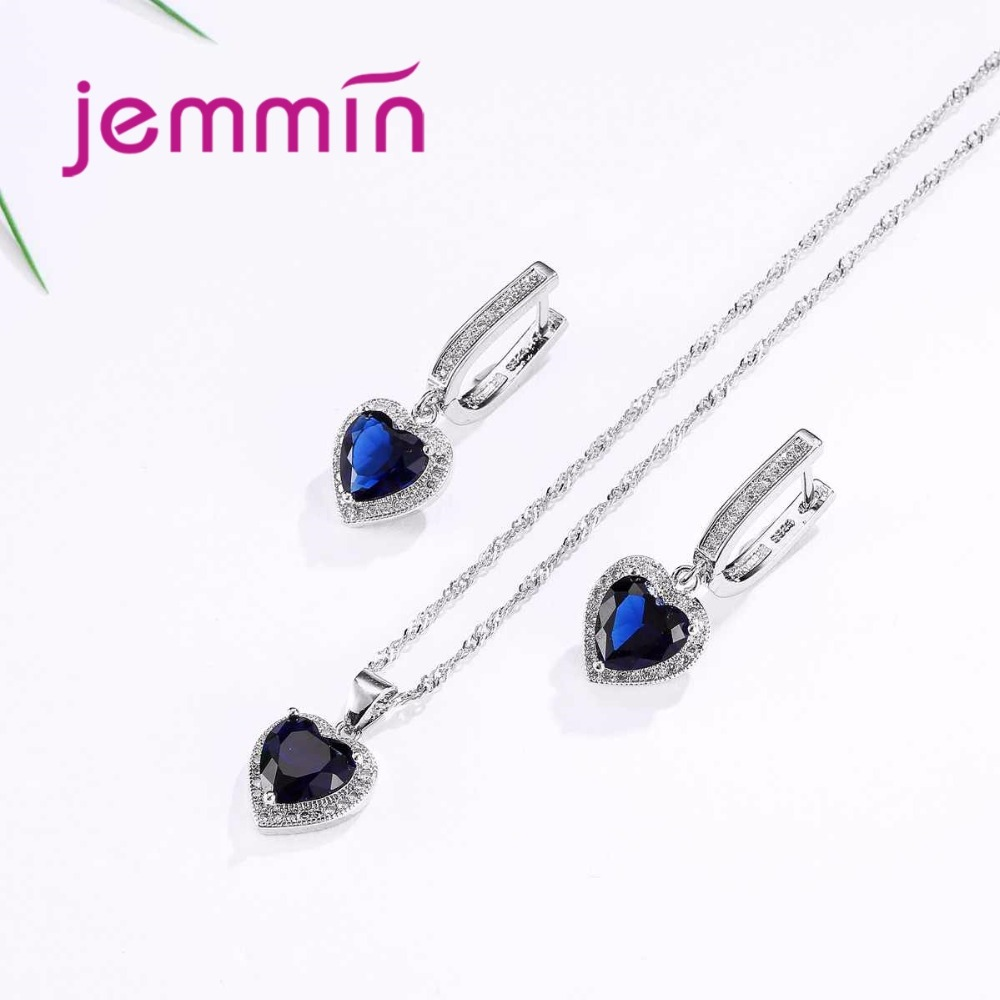 Hot Sale Heart Shape Bule Crystal 925 Sterling Silver Necklace And Earrings Set For Women Female Party Engagement