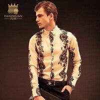 FANZHUAN Đặc Trưng Nhãn Hiệu Áo Sơ Mi Mens Baroque Sơ Mi Luxury Sơ Mi In Hoa Hoàng Gia Phong Cách Ăn Mặc Camisa Xã Hội M-5XL