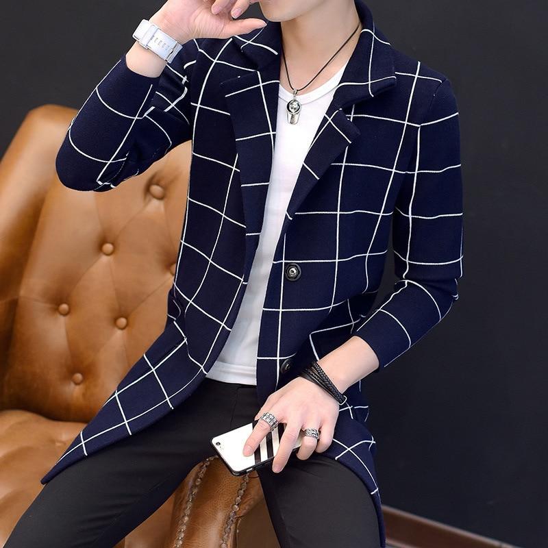 2019 Slim Plaid Single Breasted Trench Coat Teenager Design Pea Coat Fashion Men Casual Blazer Autumn Manteau Homme Black M-3XL