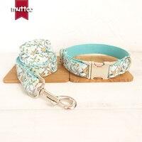 50pcs/lot MUTTCO wholesale self design dog collar THE BLUE FLOWER satin and nylon dog collars or leashes set 5sizes UDC060