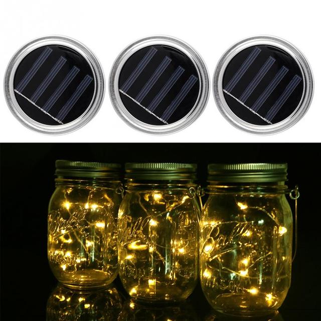 Solar Lid Light Wholesale Part - 44: 3 Pack Solar Mason Jar Lid Insert LED Fairy Mason Jar Lantern For Patio  Garden Porch
