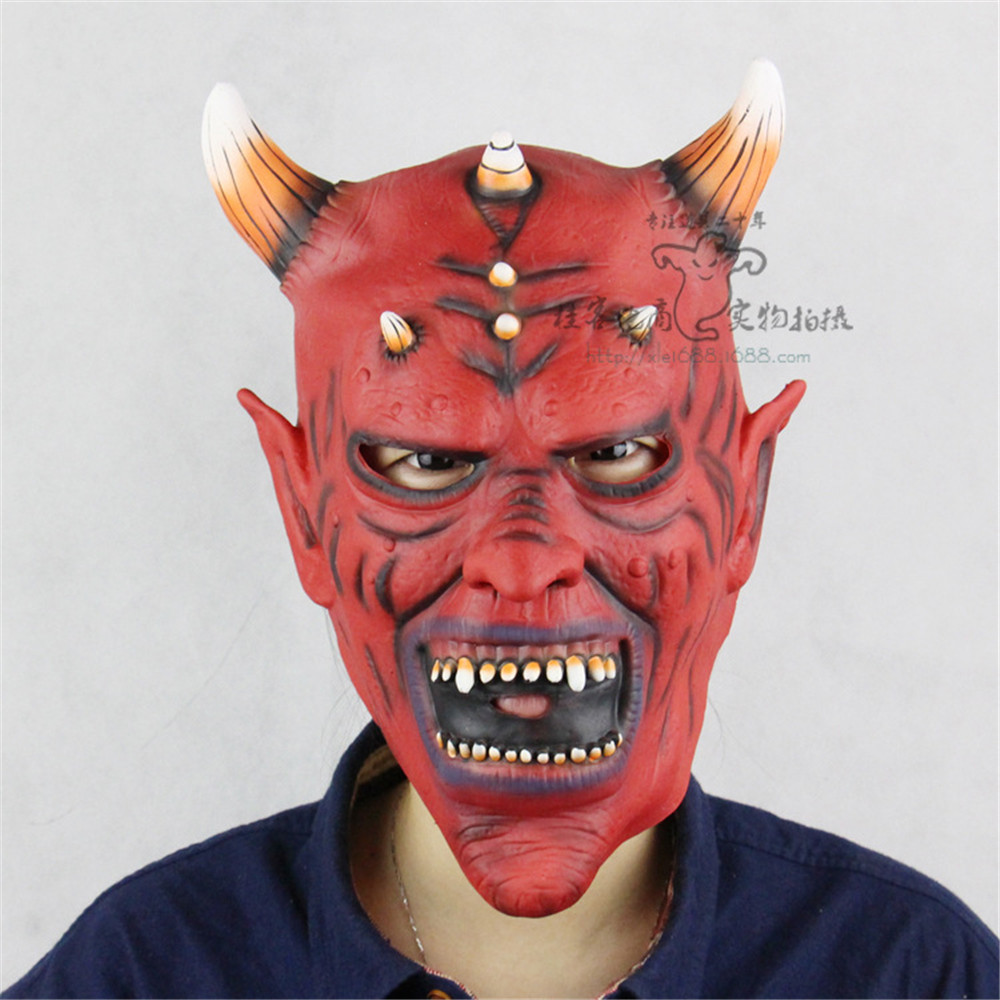 Cosplay red face horn demon horror demon vampire latex mask adult hood mask helmet Halloween carnival party props