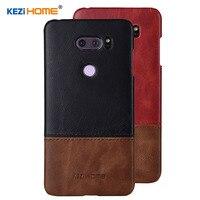 Case For LG V30 KEZiHOME Luxury Hit Color Genuine Leather Hard Back Cover Capa For LG