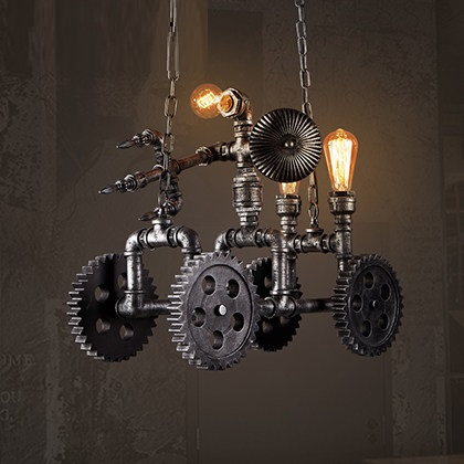 IWHD American Iron Retro Lamp Hang lights Vintage Industrial Lighting Fixtures Wood gear Pendant Light Creative Car Iluminacion iwhd american retro vintage pendant lights fixtures edison loft industrial pendant lighting hanglamp lampen wrount iron