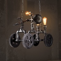 IWHD American Iron Retro Lamp Hang lights Vintage Industrial Lighting Fixtures Wood gear Pendant Light Creative Car Iluminacion