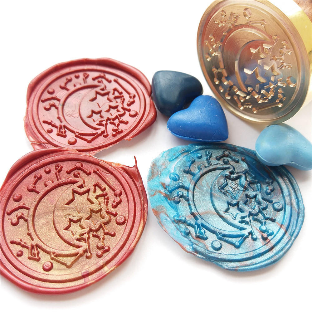 DIY wax seal stamp customize personalized stamp/Sealing Wax /wedding Wax Seal Stamp Moon Stars Planet constellation Wax seal excellent queality seal wax particle tablet in mini glass bottle 75 pcs muti colored to choose seal wax stamp use