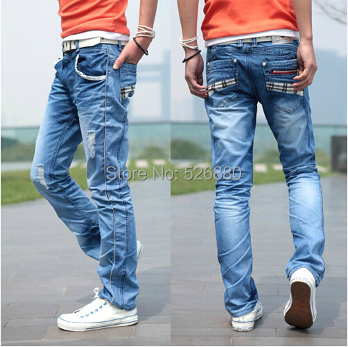 Quality Jeans 2018 Winter Mens New Holes Brand Style Jeans Fashion Slim Men  Casual Boutique Straight Light Blue Denim Jeans