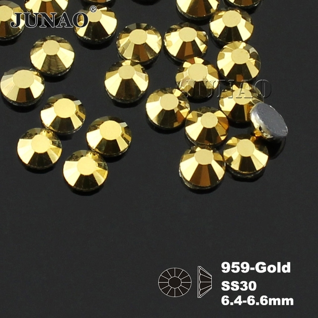 SS30 Gold Crystals Hotfix Rhinestone Flat Back Heat Transfer Iron On Design  Strass Crystal Stones For Clothes Dress Crafts abf495626884
