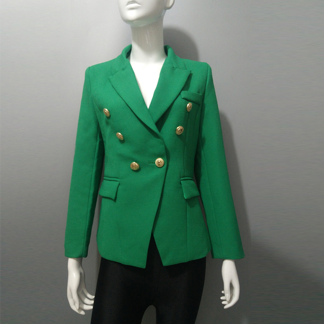 Verde Doble Slim Diseño Mujer De Blaser Blazer Chaqueta Breasted xO8nXTX