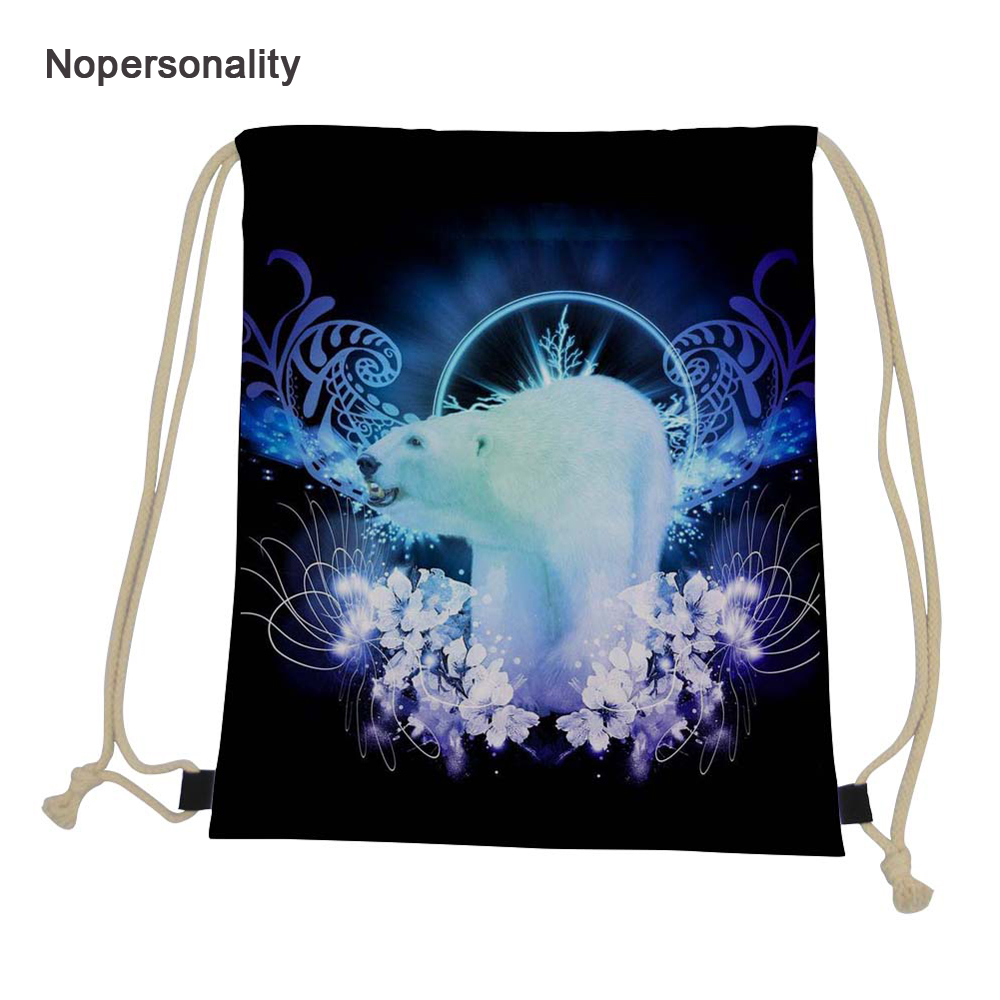 Nopersonality Awesome Polar Bear Drawstring Bags for Women Girls Small Travel Storage Bag Kids School Backpacks