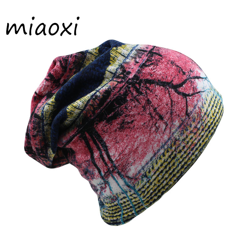 miaoxi Fashion Autumn Women Floral Adult Warm Hat Scarf Two Used Polyester Hip Hop Caps Beanies Skullies For Girl Bonnet mx-305 miaoxi women autumn hat two used caps knitted scarf adult unisex casual letter beanies warm autumn beauty skullies hat girl cap
