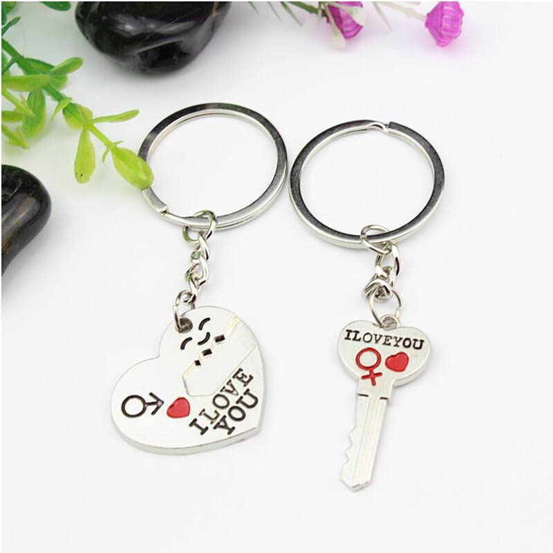 XIAOJINGLING Новый 1 пара я люблю вас письмо брелок сердце кольцо для ключей Серебристые влюбленные любовь брелки цепи-сувениры День святого Валентина