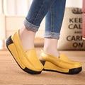 Женская Подлинная leathe rShoes Желтый Черный Красный Platfor клинья пожимая увеличение Обувь высокий Каблук повседневная мода женская ЖЕЛТЫЙ