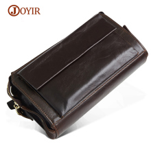 JOYIR Wallet Men Genuine Leather Wallets Long Large Capacity Male Clutch Wallet Coin Purse Men's Card Holder Phone Bag Wristlet